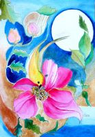 CANARY WITH HIBISCUS by GeaAusten