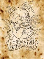 skull and lotus flower by stroder