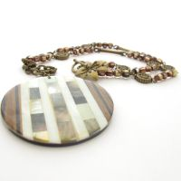 Brown Necklace With Large Pendant by MoonlightCraft
