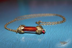 Red Time Vortex Energy Cell Steampunk Necklace by aGrimmDesign