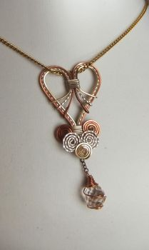 Tri-Tone Valentine Heart Pendant with Crystal Drop by SRTolton