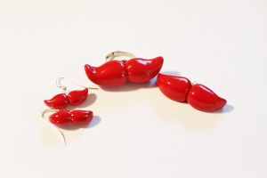 Red Mustache Jewerly Set by CharmStop