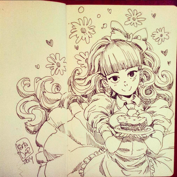 Lucia and cake Inktober by KarlaDiazC