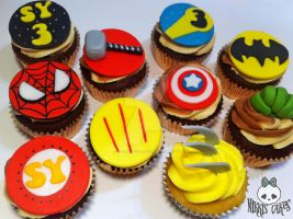 Superhero Cupcakes by Corpse-Queen
