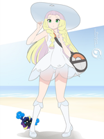Lineart_Pokemon Lillie and Nebby by Orcaleon
