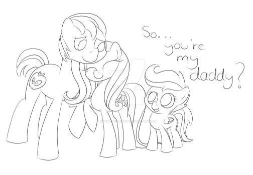 So...you're my daddy?  lineart by artoftheghostie