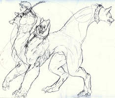 Cerberus or Human Taur tingy by demonicScourge