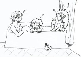 Bathtime with Daddy Dragon by beanchan