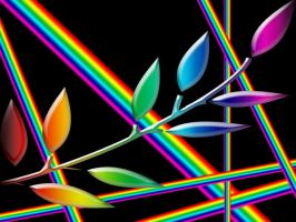 rainbow leaf by electricjesuscorpse