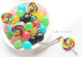 Handmade Necklaces Rainbow Lollipops by LaNostalgie05