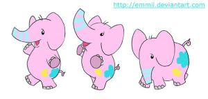 FOR SALE! Pink elephant chibi by art-adoption