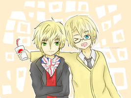 APH: England and America! (Commission) by monochromevoicestory