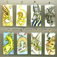 Sumi Glass Pendants - Group 7 by Foxfeather248