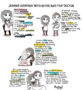 Jammie Dodgers With River and The Doctor by Nikeru