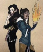 LoK: Asami and Korra by plastic-pipes