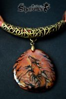 Pendant with handpainted Fire cat by Shisona