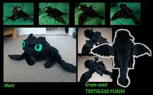 Green-Eyed TOOTHLESS PLUSH by shazy