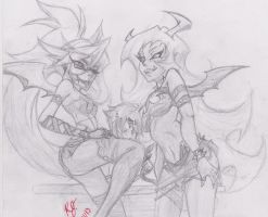 Old Sketch: Scanty and Kneesocks by Kenji42
