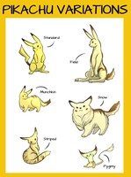 Pikachu variations by Raycchan