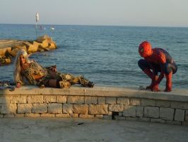 Looking the sea with Spiderman_2 by ladymisterya