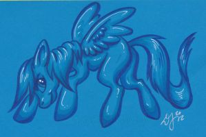 My Little Pony - blue neon color card by Zelaphas