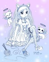 Frilly Girl with Angel Cats by Princess-Peachie