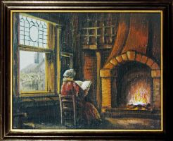 Reading at fireplace oil paint by polota