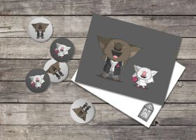 Wedding Buttons and Postcards by morganobrienart