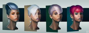 Female Head Designs by Andrew-Lim