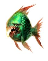 green fish with teeth by Jastorama