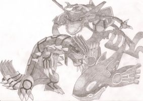 Groudon, Kyogre and Rayquaza by Wilira