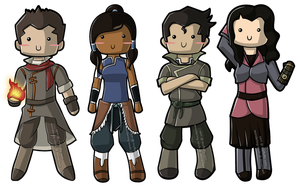 Korra + Gang Chibis by wondering-souls
