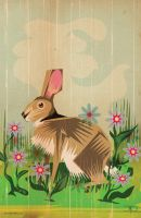 RABBIT IN THE DAISIES by MY-METAL-HAND