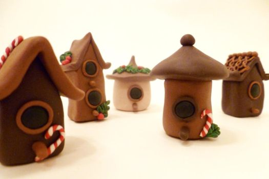 Miniature Bird House Fairy House Figurines by FlyingFrogCreations