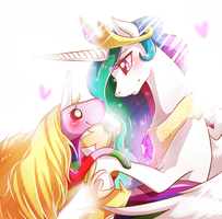 Princess Celestia and Lady Rainicorn by duckfoxy
