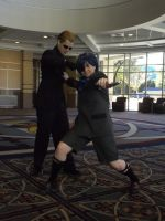 Wesker attacks Ciel Phantomhive by BlueEyesMaster