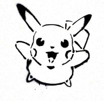 stenciled pikachu by cat2198