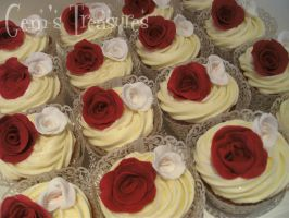Red and White Rose Cupcakes by gertygetsgangster