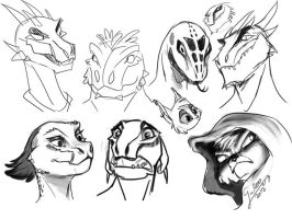 Skyrim Argonian and Khajiit characters by GalooGameLady
