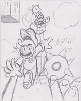Mario and Lakitu Sketch by JamesmanTheRegenold
