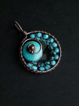 Round turquoise pendant by SilverDeFactory
