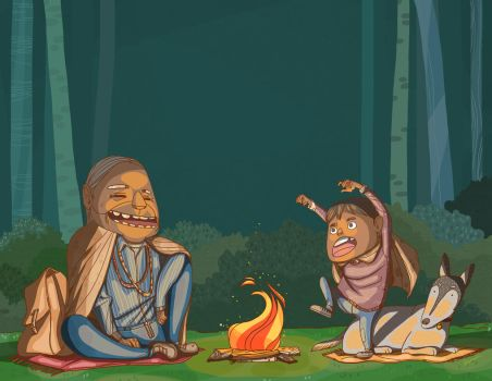 Childrens Book Illustration 6 By The Campfire by bachinienie