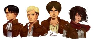Shingeki no Kyojin - Group painting by msloveless
