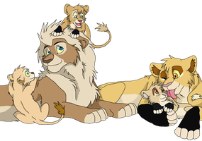 Art Trade: Katty, Jasim and cubs by Firewolf-Anime