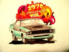 1970 Challenger T/A drawing by prestonthecarartist