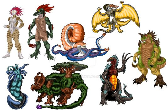 Kaiju Character Concepts by Crocazill