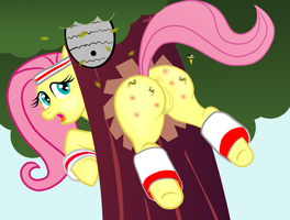 Fluttershy Stuck and Stung by BStingDA