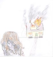 Zombie and a burning house by TheJasmineGirl