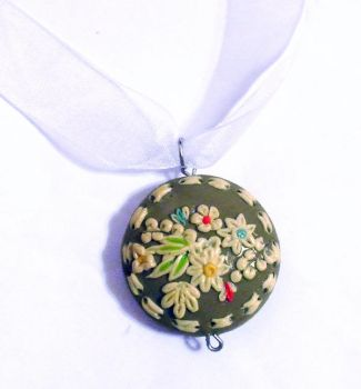 floral polymer clay pendant by EruwaedhielElleth