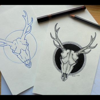 Deer's skull tattooproject by Colberg-Crucefixus
